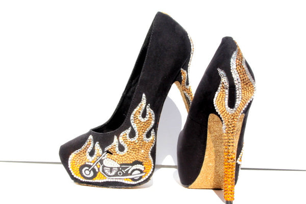 Gold Flame Motorcycle Crystal Heels