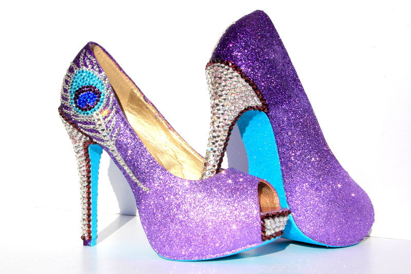 Purple Crystal Peacock Heels with Aqua Soles - Wicked Addiction