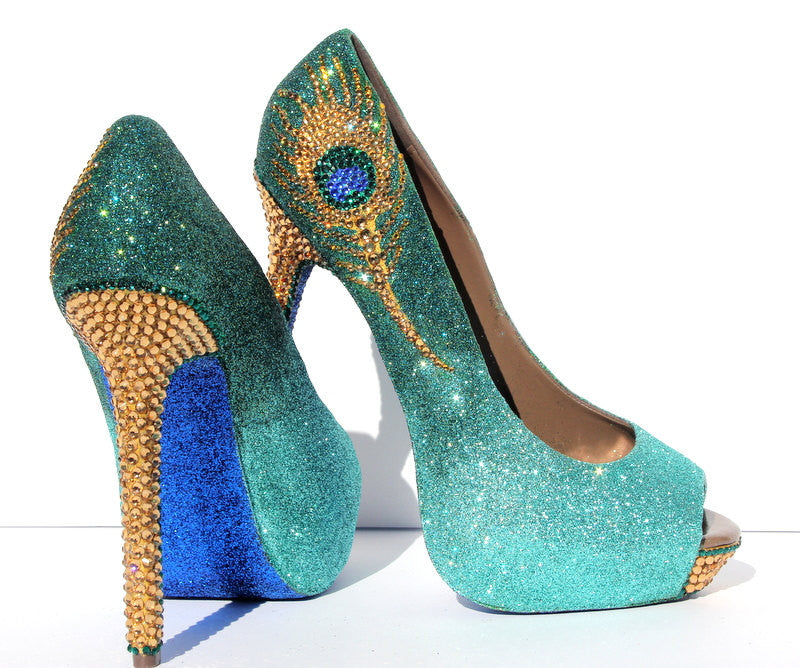 Jade & Gold Crystal Peacock Heels - Wicked Addiction