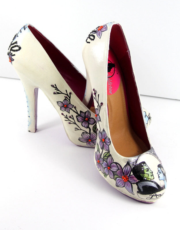 Hand-Painted Swarovski Crystal Frankenstein Heels - Wicked Addiction