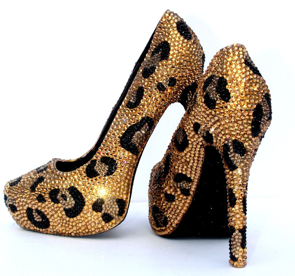 Gold & Black Leopard Crystal Heels - Wicked Addiction
