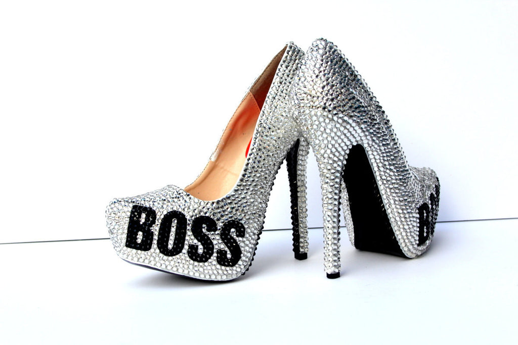 BOSS Black & Silver Swarovski Crystal Heels - Wicked Addiction