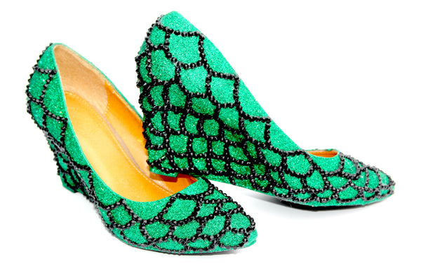 Mythical Green Scale Wedges - Wicked Addiction