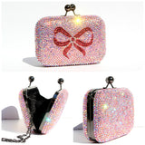 Custom Color AB Crystal Clutch with Bow - Wicked Addiction