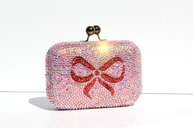 Custom Color AB Crystal Clutch with Bow