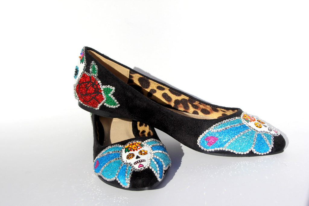 Day of the Dead Swarovski Sugar Skull Flat - Wicked Addiction