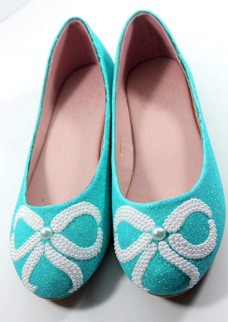 Tiffany Blue Flats with White Pearl Bows - Wicked Addiction