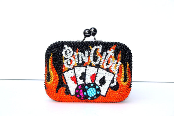 Las Vegas Sin City Crystal Clutch