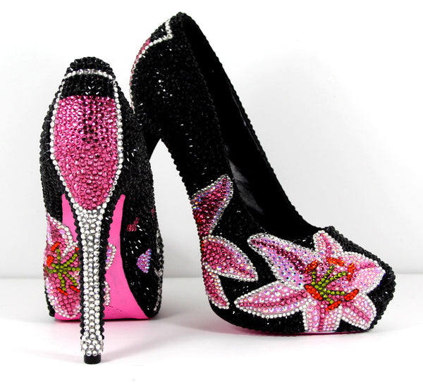 Stargazer Lily Swarovski Crystal Heel - Wicked Addiction