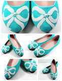 Tiffany Blue Flats with White Pearl Bows