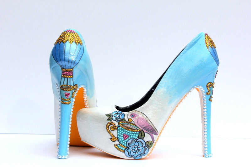 Hand-Painted Hot Air Balloon Heels - Wicked Addiction