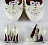 Hand-Painted Lace Heels with Swarovski Crystals & Pearls