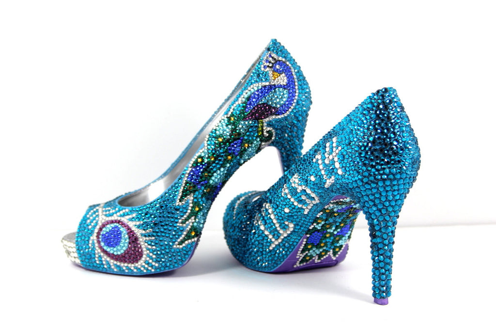 Hand-Painted Crystal Peacock Heels - Wicked Addiction