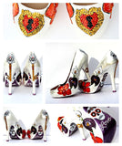 Crystal Sugar Skull, Heart Locket & Key Heels - Wicked Addiction