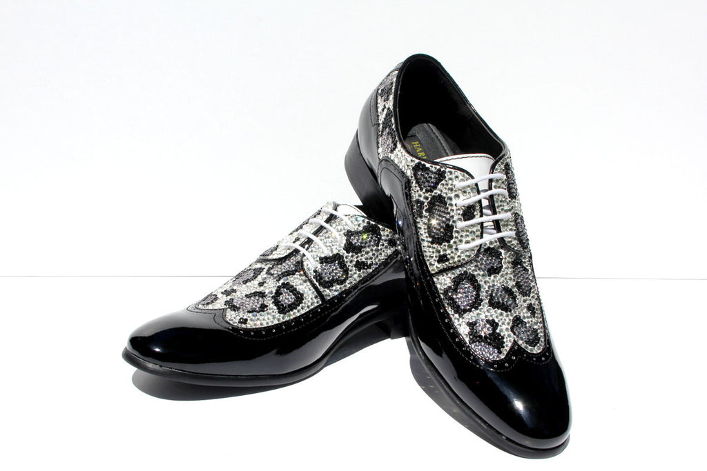 Men's Swarovski Crystal Leopard Wing Tip Shoe - Wicked Addiction