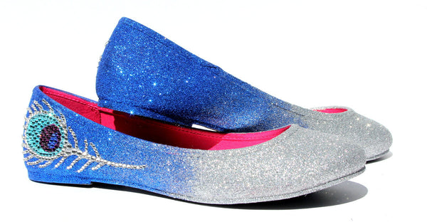 Peacock Glitter Flats with Swarovski Crystal Feathers - Wicked Addiction