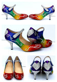 Rainbow Glitter Mary Jane Heels with Swarovski Crystal - Wicked Addiction