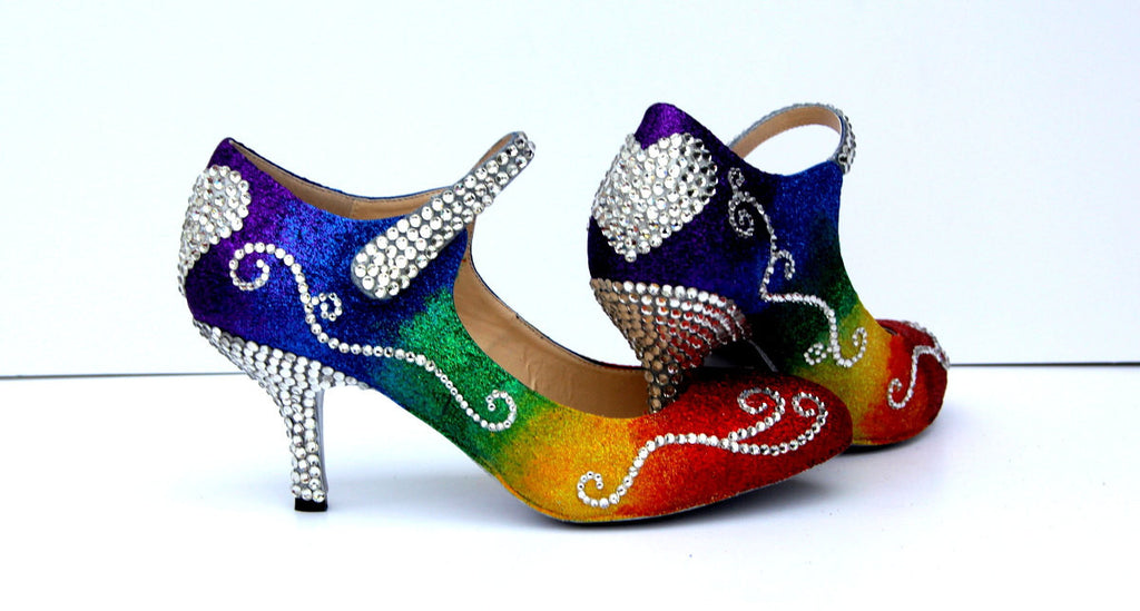 Rainbow Glitter Mary Jane Heels with Swarovski Crystal