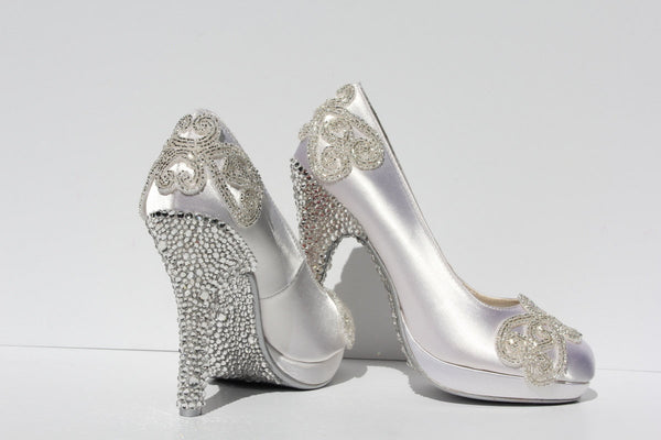 Swarovski Crystal White Wedding Heel - Wicked Addiction