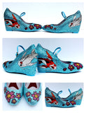 Koi & Cherry Blossom Crystal Mary Jane Wedges