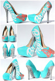 Butterfly Bridal Swarovski Crystal Heels with Pearls