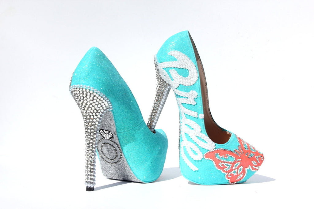 Butterfly Bridal Swarovski Crystal Heels with Pearls - Wicked Addiction
