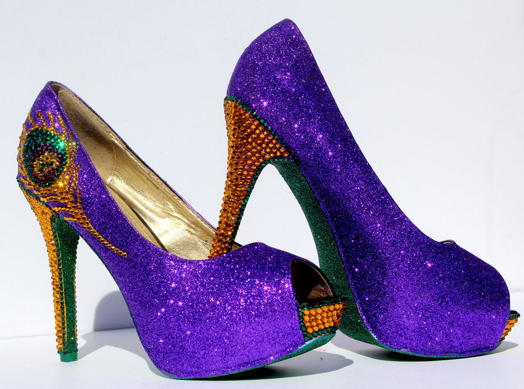 Mardi Gras Swarovski Crystal Peacock Heel - Wicked Addiction