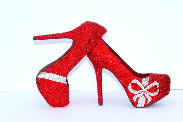 Red Swarovski Crystal Heels with Crystal Bows - Wicked Addiction
