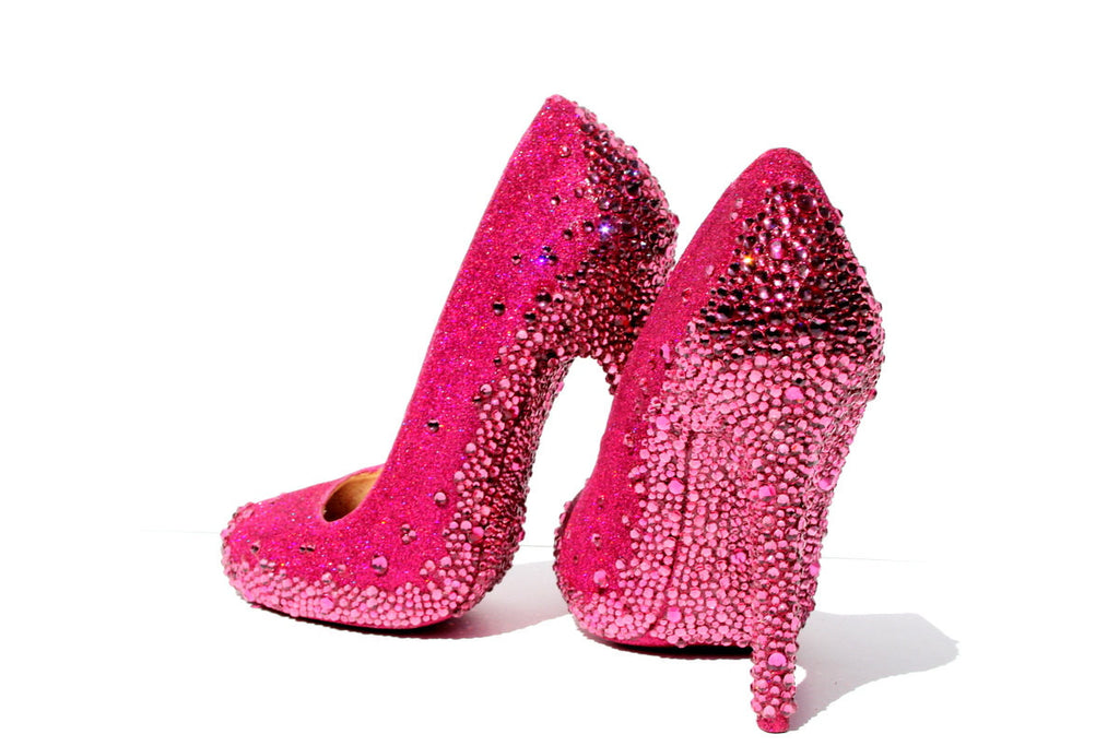 Pink Glitter Heels with Rose Swarovski Crystal Soles - Wicked Addiction