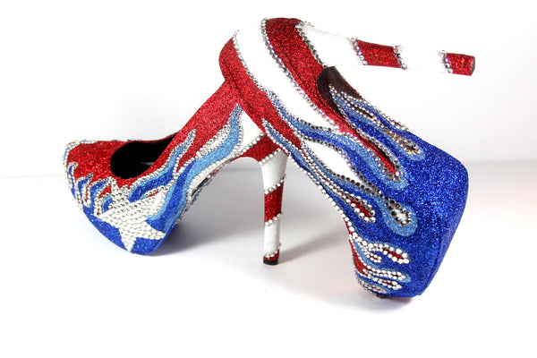 Puerto Rican Flag Glitter Crystal Heels - Wicked Addiction