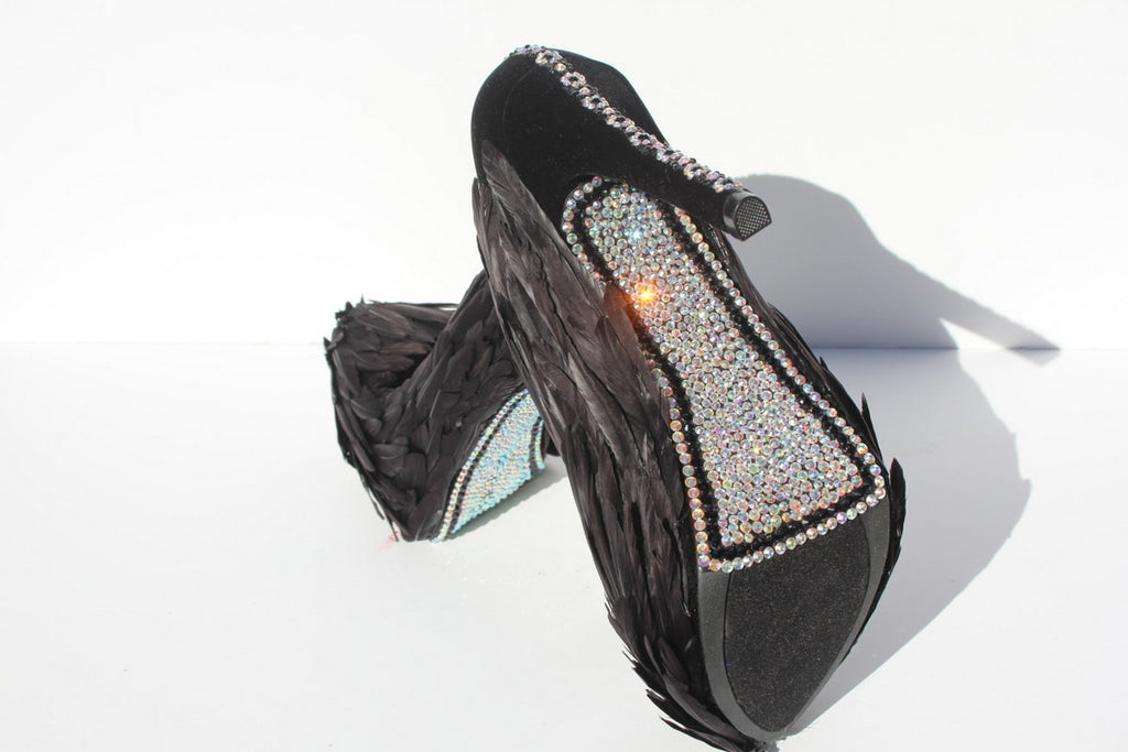 Black Swan Feathered Heels with AB Crystals - Wicked Addiction