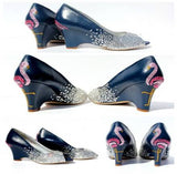 Crystal Wedges with Flamingos - Wicked Addiction