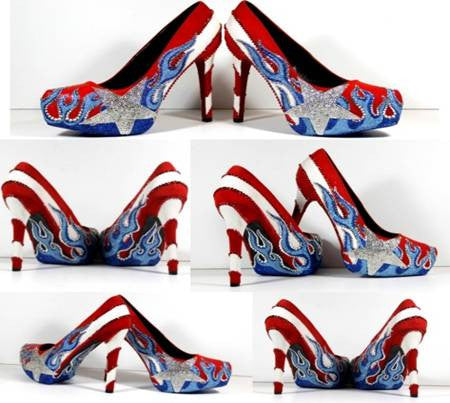 Puerto Rician Day Heels with Flames
