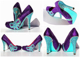 Tiffany Blue Crystal & Purple Glitter Bow Heels - Wicked Addiction