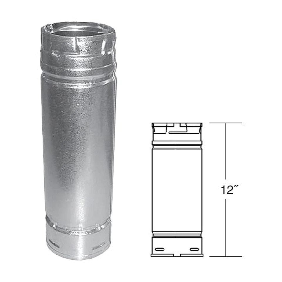 "Duravent 3"" x 12"" Straight Length Chimney Pipe 3PVP-12"