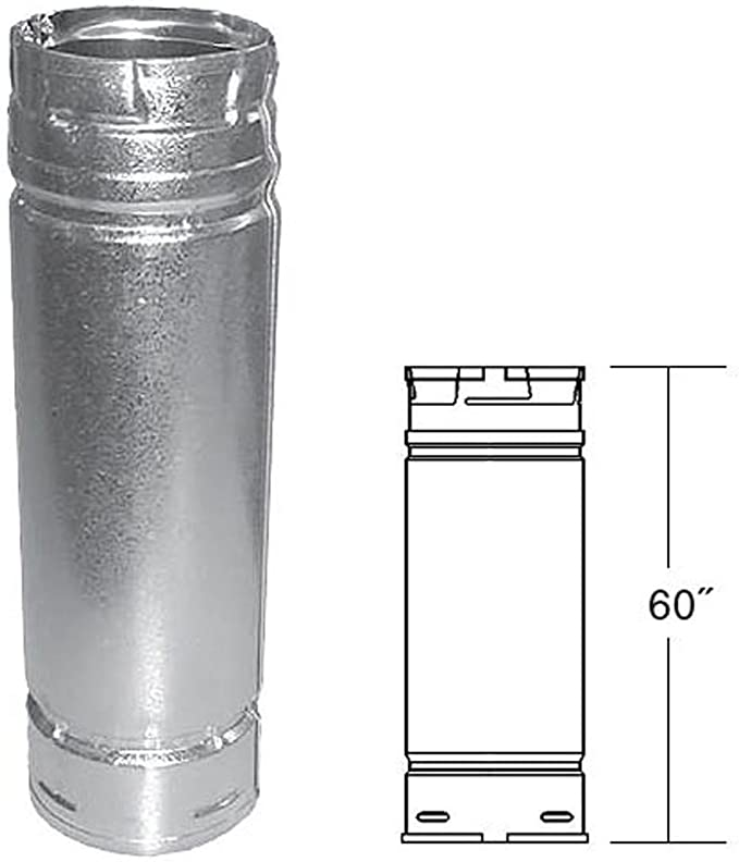 "Duravent 3"" x 60"" Straight Length Chimney Pipe 3PVP-60"
