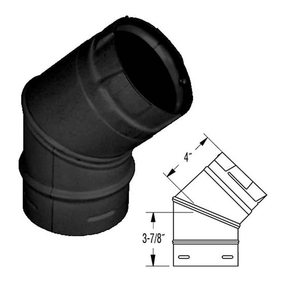 "Duravent 4"" PelletVent Pro Black 45 Degree Elbow 4PVP-E45B"