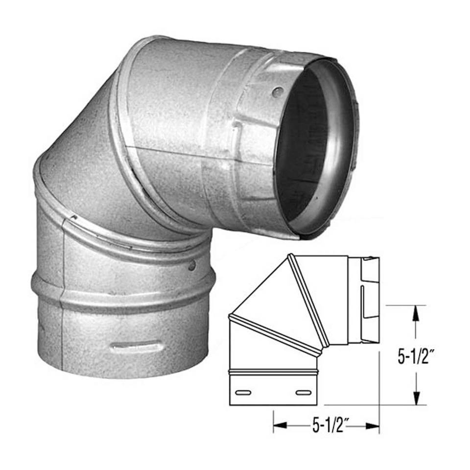 "Duravent 3"" PelletVent Pro Galvalume 90 Degree Elbow 3PVP-E90"