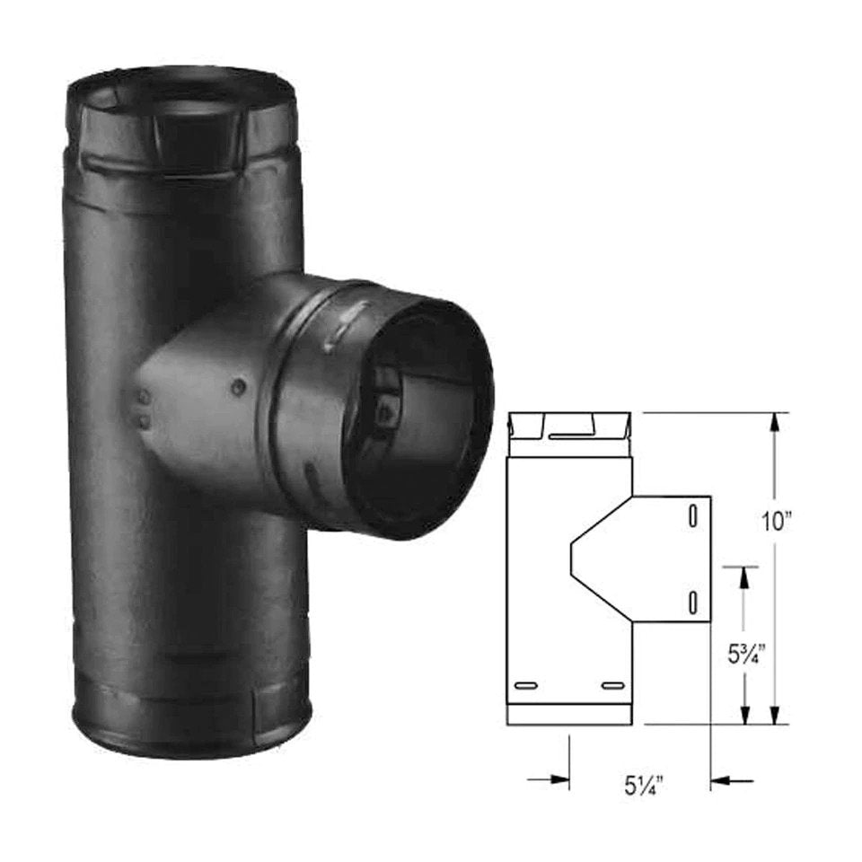 "Duravent 4"" PelletVent Pro Black Single Tee with Clean-Out Tee Cap 4PVP-TB1"