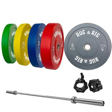 RUG & RIG COLOUR OLYMPIC HOME GYM BUMPER SET WITH POWER SQUAT RACK AND 6 ANGLE BENCH - IN STOCK