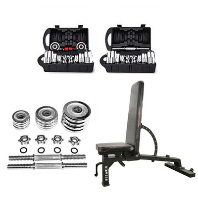 RUG & RIG CHROME PLATED DUMBBELL SET with ADJUSTABLE BENCH 10 ANGLE ADJUSTMENT - IN STOCK