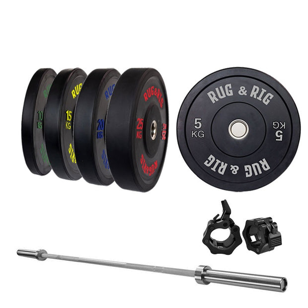 Rug & Rig Bumper Set with 6/10 Angle Bench and Squat Rack | IN STOCK