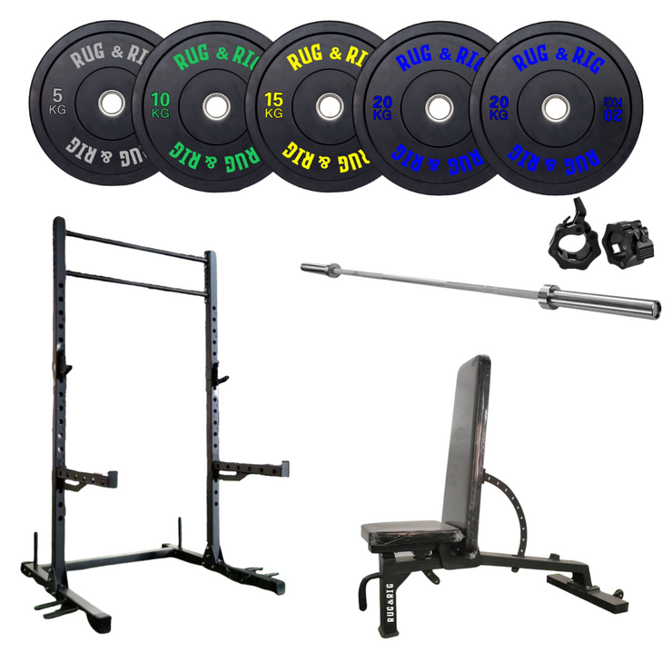 Power Rack 60 X 60 Package - 210KG Black Bumper set with  Bench and Bar