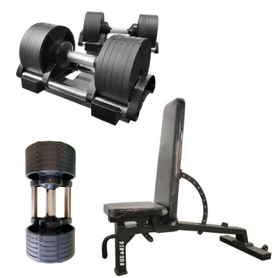 RUG & RIG DUMBBELLS ADJUSTABLE WEIGHT SET with ADJUSTABLE BENCH 10 ANGLE ADJUSTMENT - IN STOCK