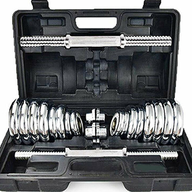 Chrome Plated Dumbbell Set with Connecting Tube Barbell - SAME DAY DELIVERY-RUG & RIG Compact Home Gym