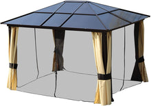 Load image into Gallery viewer, Outsunny 3.6 x 3(m) Garden Outdoor Aluminium Gazebo Hardtop with LED Solar Light Canopy Marquee Party Tent Shelter with Mesh Curtains & Side Walls