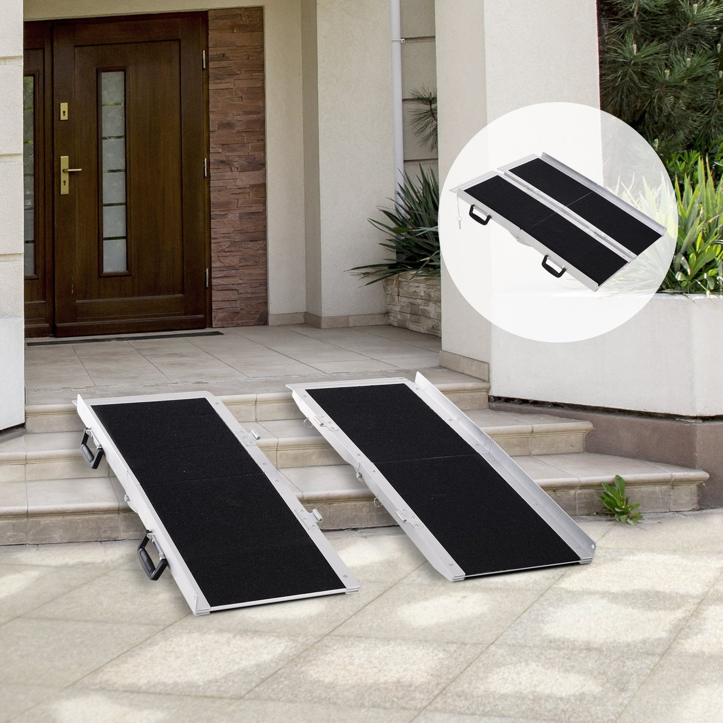 HOMCOM Aluminium Double Panel Wheelchair Ramp w/ Handle Black