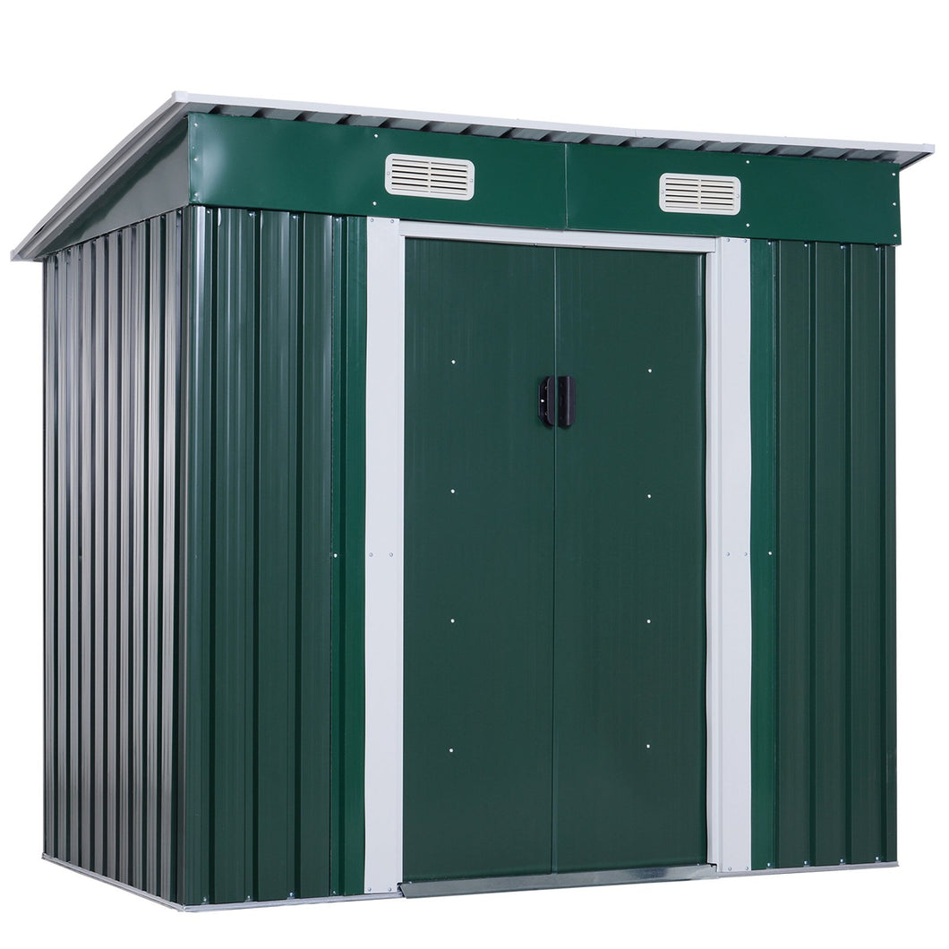 Outsunny Metal Garden Shed W/ Free Foundation, 2x1.2 m-Dark Green