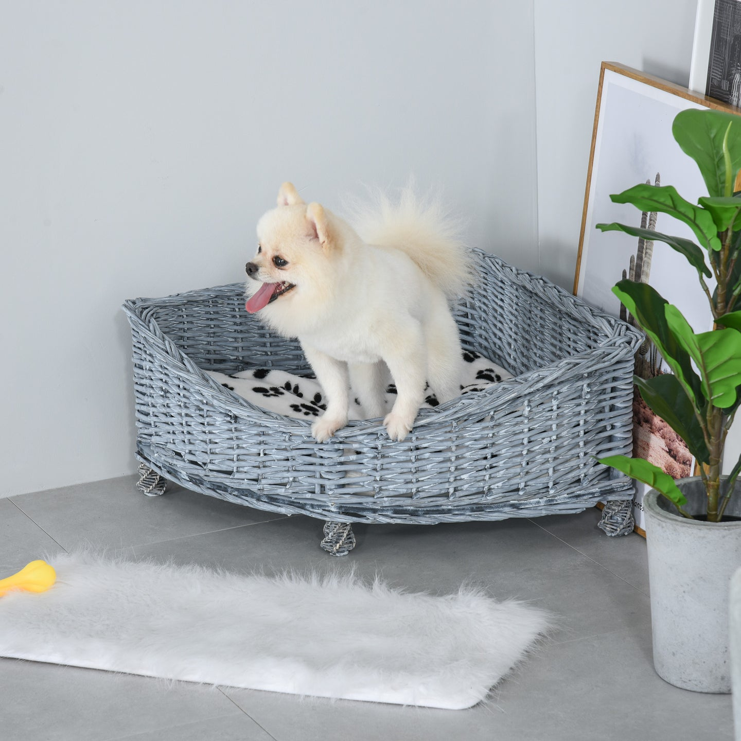PawHut Wicker Dog Corner Basket Pet Bed Sofa Couch with Soft Plush Cushion Elevated Base Grey