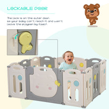 Load image into Gallery viewer, HOMCOM 12 PCs Foldable Children Playpen Safety Gate Kids Activity Center Fence for Home Indoor Mom's Helper w/ Toys HDPE